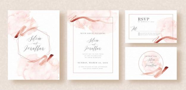 抽象的なスプラッシュとストロークの水彩画と結婚式の招待状
