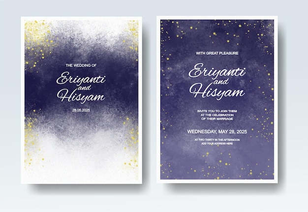 Приглашение на свадьбу с абстрактной акварелью всплеск