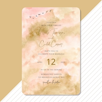 Wedding invitation with abstract watercolor and bird background