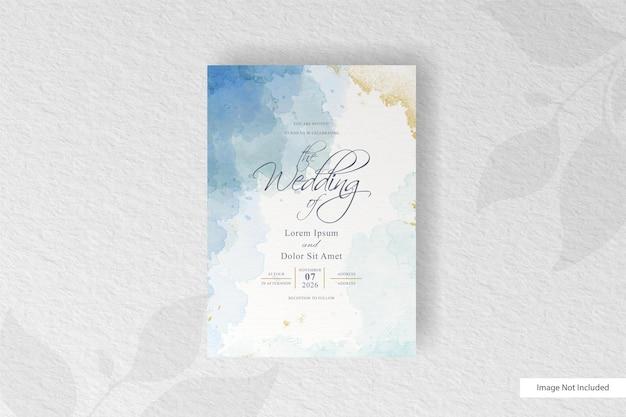 Wedding invitation with abstract watercolor splash Premium Vector