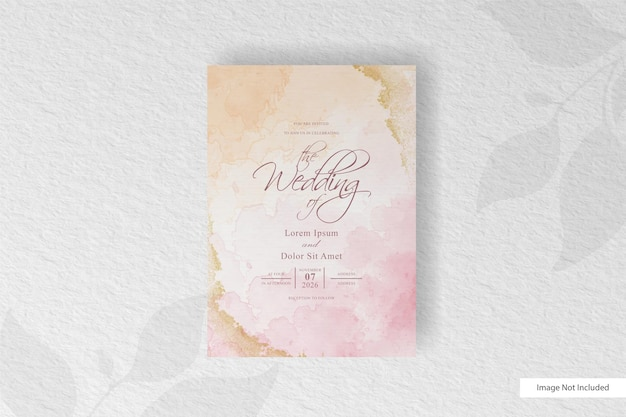 Wedding invitation with abstract watercolor splash