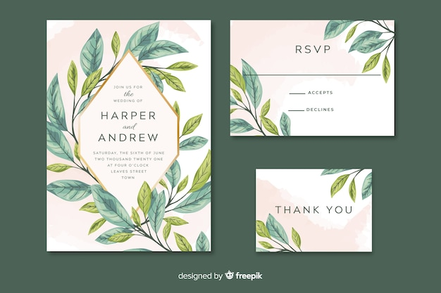 Wedding invitation with artistic painted leaves