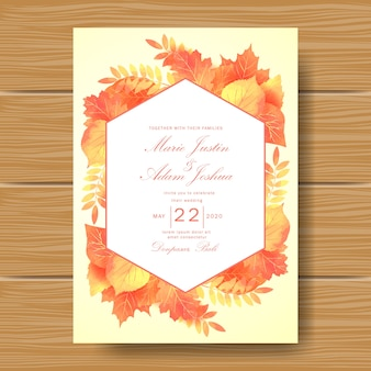 Wedding invitation with autum leaves theme