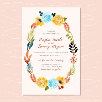 Wedding invitation with autumn floral frame watercolor