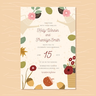 Wedding invitation with autumn floral pot background