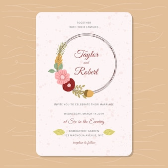 Wedding invitation with autumn floral theme