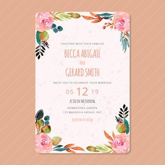 秋の花の水彩画の結婚式招待状