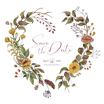 Wedding invitation with autumn heart wreath