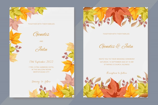 Wedding invitation with autumn leaves