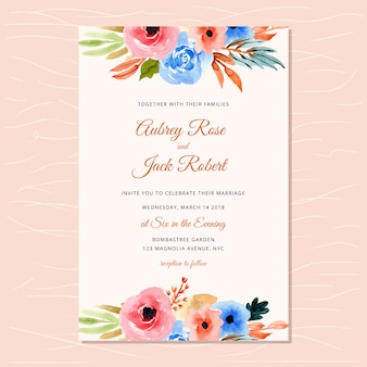 Wedding invitation with autumn watercolor floral