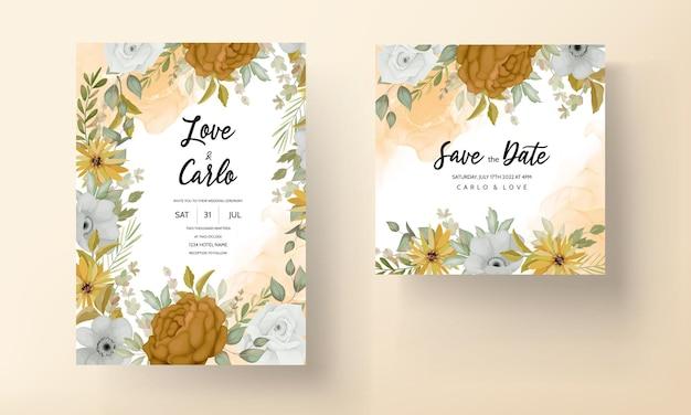 美しい秋の花と結婚式の招待状