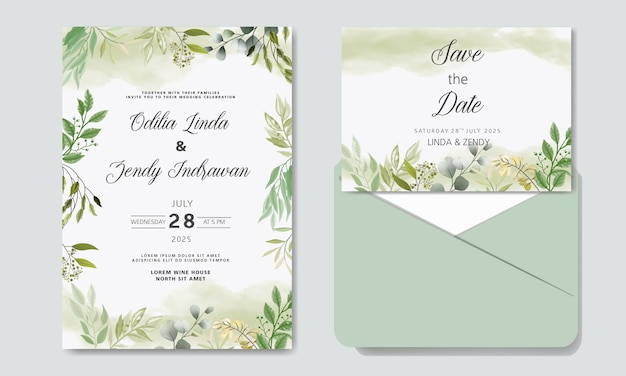 Wedding invitation with beautiful and elegant floral templates