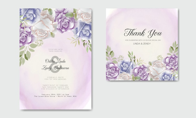 Wedding invitation with beautiful and elegant floral