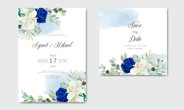 Wedding invitation with beautiful floral themes