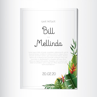Wedding invitation with beautiful floral and tropical leaves