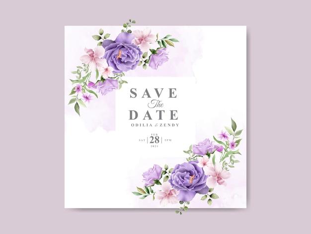 美しい花柄の水彩デザインの結婚式の招待状