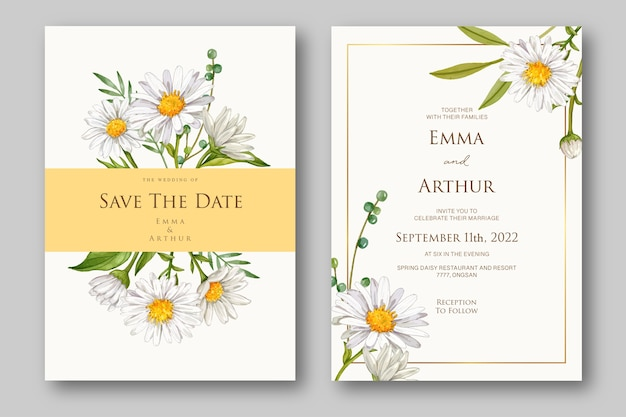 Wedding invitation with beautiful floral watercolor template