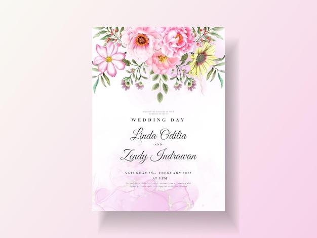 美しい花の水彩画と結婚式の招待状