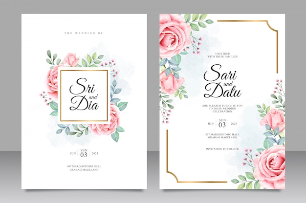 Wedding invitation with beautiful floral watercolor