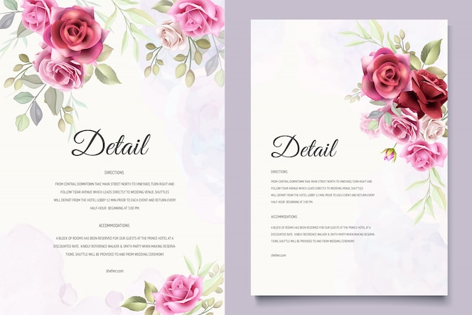 Wedding invitation with beautiful floral