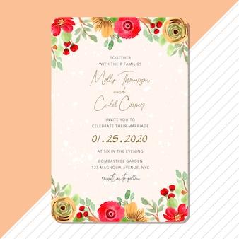 Wedding invitation with beautiful flower border watercolor