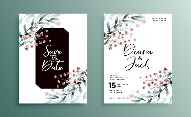 Wedding invitation with beautiful flower decoration design