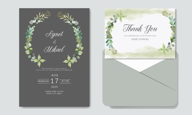 Wedding invitation with beautiful flower templates