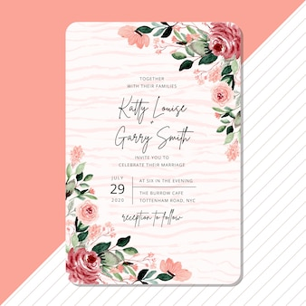 Wedding invitation with beautiful flower watercolor border
