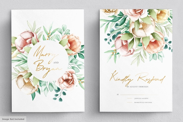 Wedding invitation with beautiful flowers bouquets and wreath watercolor set