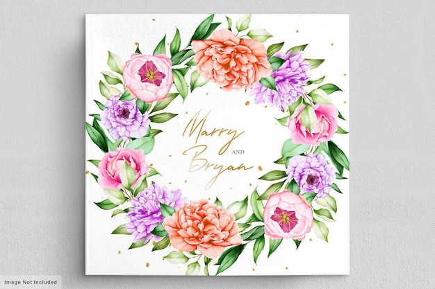 Wedding invitation with beautiful flowers bouquets and wreath watercolor