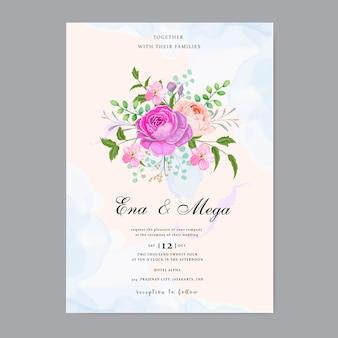 Wedding invitation with beautiful flowers leaves