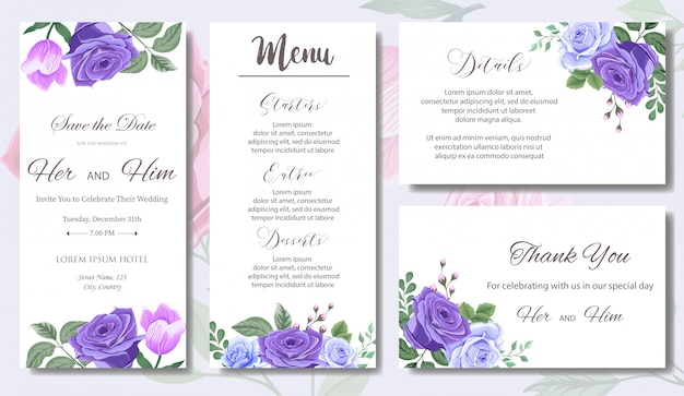 Wedding invitation  with beautiful flowers and leaves