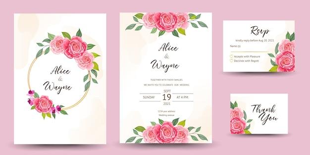 美しい花と結婚式の招待状