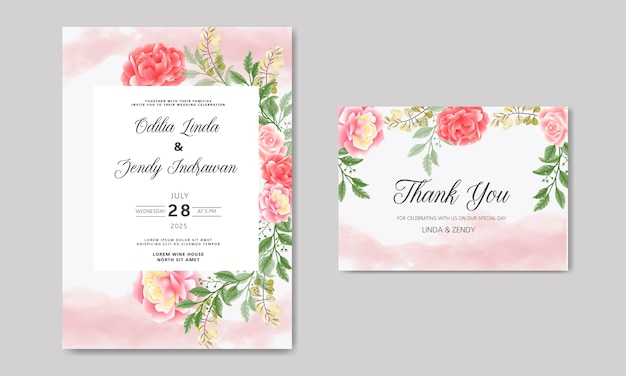 Wedding invitation with beautiful and greenery floral