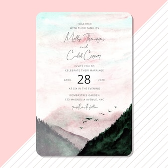 Wedding invitation with beautiful landscape watercolor background