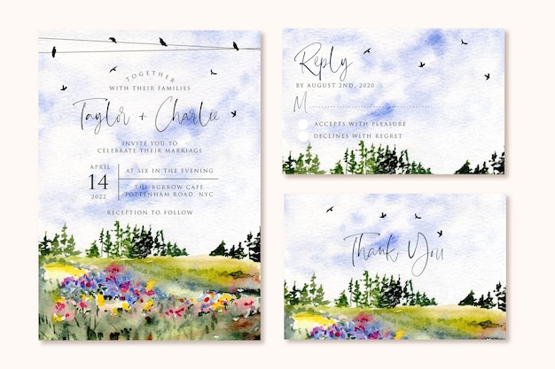 Свадебное приглашение с красивым пейзажем акварелью