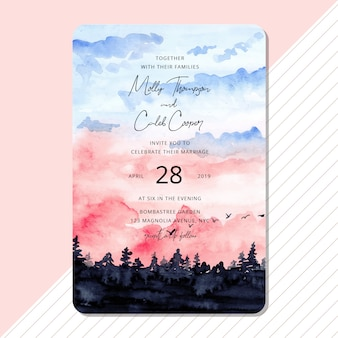 Wedding invitation with beautiful landscape watercolor