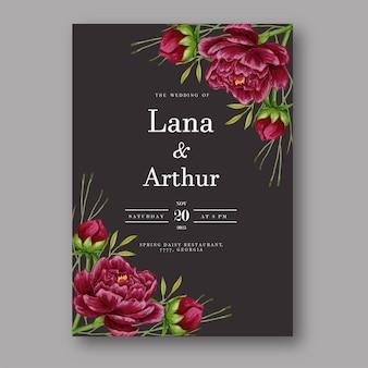 Wedding invitation with beautiful maroon peony watercolor