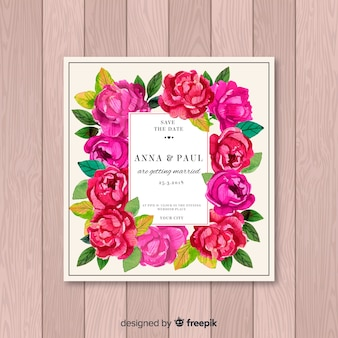 Wedding invitation with beautiful peony flowers