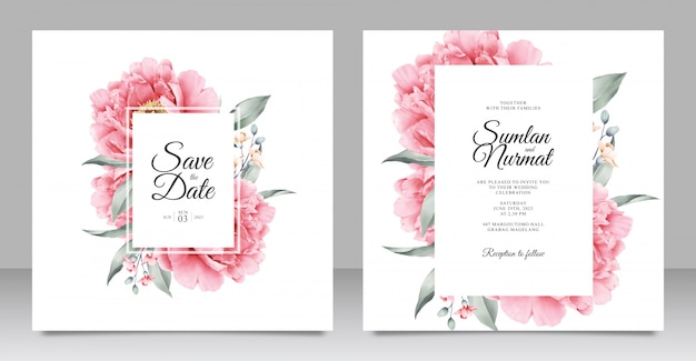 Wedding invitation with beautiful peony