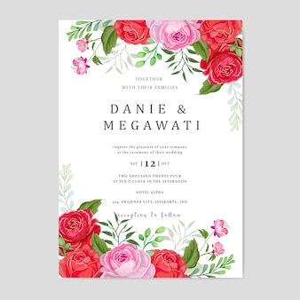 Wedding invitation with beautiful pink and red flowers leaves