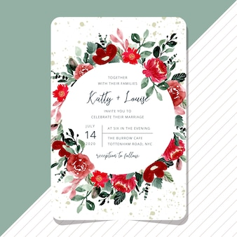 Wedding invitation with beautiful red floral watercolor card