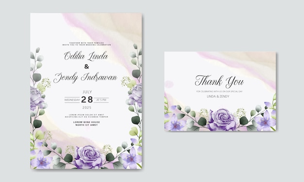 Wedding invitation with beautiful and romantic flower templates