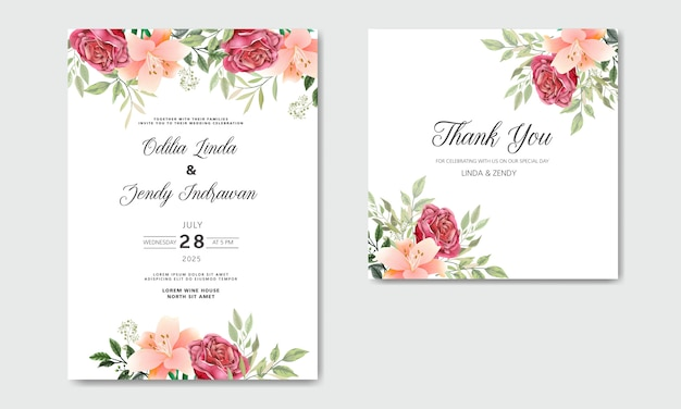 Wedding invitation with beautiful and romantic flowers