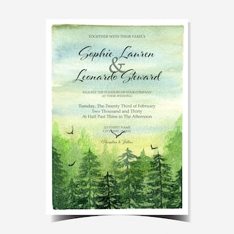 Wedding invitation with beautiful scenery and green forest