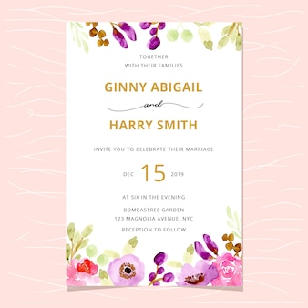 Wedding invitation with beautiful watercolor floral border