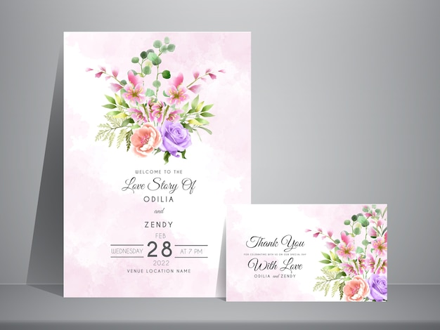 Wedding invitation with beautiful watercolor flower and leaves bouquet