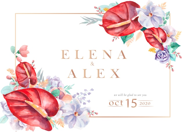 Wedding invitation with beautiful watercolor flowers