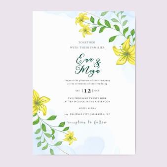 美しい黄色の花の結婚式の招待状の葉