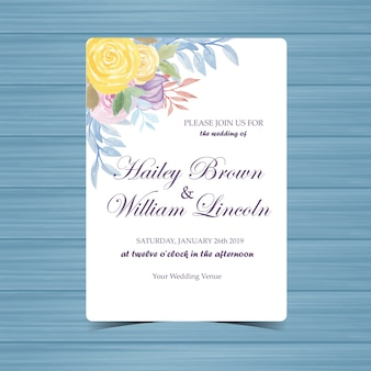 Wedding invitation with beautiful yellow and purple roses